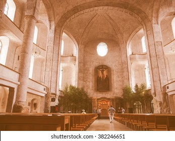 DRESDEN, GERMANY - JUNE 11, 2014: Kreuzkirche meaning Church of the Holy Cross is the largest church in Saxony vintage