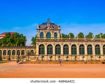 DRESDEN, GERMANY - JUNE 11, 2014: Dresdner Zwinger palace designed by Poeppelmann in 1710 as orangery and exhibition gallery completed by Gottfried Semper with the addition of Semper Gallery (HDR)