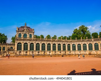 DRESDEN, GERMANY - JUNE 11, 2014: Dresdner Zwinger palace designed by Poeppelmann in 1710 as orangery and exhibition gallery completed by Gottfried Semper (HDR)