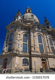 Dresden, Germany / June 18, 2019 : A View of The Dresden Frauenkirche(Evangelical-Lutheran Church of Saxony) in Dresden, Germany.