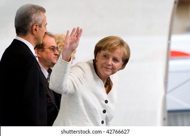 DRESDEN, GERMANY - JUNE 18: Chancellor Angela Merkel visits the CDU Party June 18, 2008 in Dresden, Germany.