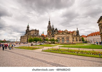 DRESDEN, GERMANY- JUNE 20, 2016: Historical center in old town of Dresden