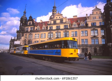 DRESDEN, GERMANY - MAR 8, 1998 -Streetcar in the re-constructed old city of Dresden, Germany
