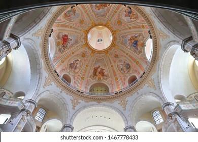DRESDEN, GERMANY - MAY 10, 2018: Interior view of Frauenkirche Lutheran church in Dresden city, Germany (State of Sachsen). Baroque landmark was rebuilt after World War 2 destruction.