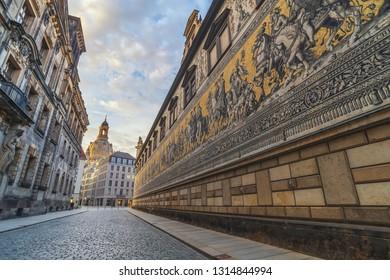 DRESDEN, GERMANY - MAY 12, 2017: Dresden Germany, sunrise city skyline at Procession of Princes (Furstenzug)
