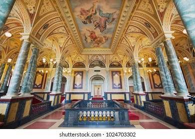 DRESDEN, GERMANY - MAY 18, 2010: Interior of one of the halls of the Semper Opera House in Dresden, Germany. The opera house was originally built by the architect Gottfried Semper in 1841.