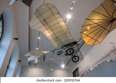 DRESDEN, GERMANY - MAY 2015: ancient flying machine with propeller in Dresden Transport Museum on May 25, 2015 in Dresden, Germany
