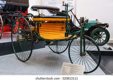 DRESDEN, GERMANY - MAY 2015: Benz Patent Motor Car 1886 in Dresden Transport Museum on May 25, 2015 in Dresden, Germany