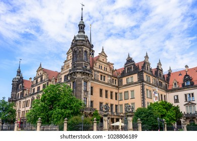 DRESDEN, GERMANY - MAY 2017: Dresden Castle or Royal Palace (Dresdner Residenzschloss or Dresdner Schloss) is one of oldest buildings in Dresden. Residence of electors and kings of Saxony. Germany.