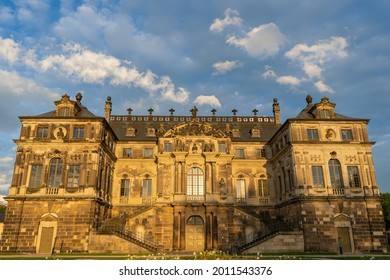 """Dresden, Germany - May 21 2021: The Palais in the """"Großer Garten"""". It is a baroque Lustschloss in the middle of a public park in Dresden."""