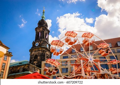 DRESDEN, GERMANY - MAY 7, 2016: Roundabout and Kreuzkirche or Church of the Holy Cross in old Dresden, Saxony, Germany