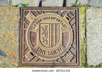 DRESDEN, GERMANY - MAY 7, 2016: Hatch of sewage in Dresden, Germany Saxony, Germany