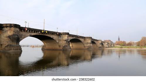 DRESDEN, GERMANY -  NOVEMBER 12, 2014: view of bridge over Elbe river in Dresden, Germany