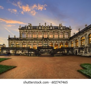 DRESDEN, GERMANY - NOVEMBER 13, 2016: The Porcelain Museum in Dresdner Zwinger, rebuilt after the second world war, the palace is now the most visited monument in Dresden, on November 13, 2016.