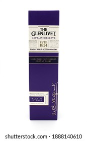 "Dresden, Germany - November 15 2020: A bottle of ""The Glenlivet""  Captains reserve single malt Scotch whisky. It is made in the Speyside and finished in Cognac casks."