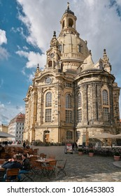 DRESDEN, GERMANY – OCTOBER 12, 2017: The Frauenkirche in the old town of Dresden. The destroyed in the war church was rebuilt and re-consecrated in 2005