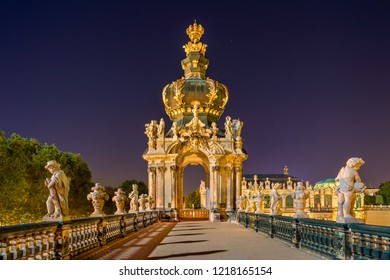 Dresden, Germany - October 14, 2018: The Zwinger Palace (German: Dresdner Zwinger). It was built in Baroque style and served as the orangery, exhibition gallery and festival arena of the Dresden Court