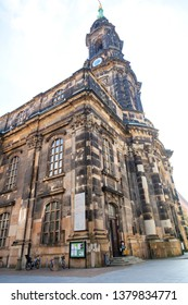 Dresden, Germany - October 21, 2018 -  The Dresden Kreuzkirche (Church of Our Lady) is a Lutheran church; the main church and seat of the Landesbischof of the Evangelical-Lutheran Church of Saxony