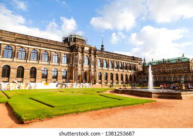 Dresden, Germany - October 21, 2018 - Grand Building Zwinger with gardens and galleries