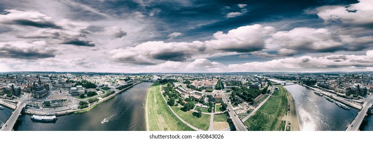 Dresden, Germany. Panoramic 360 degrees view from helicopter.