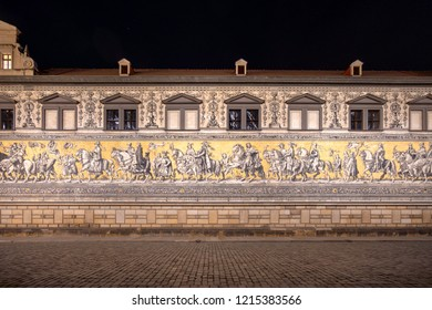 Dresden, Germany. The Procession of Princes (German: Fürstenzug). It is a large mural of a mounted procession of the rulers of Saxony. It was originally painted between 1871 and 1876.
