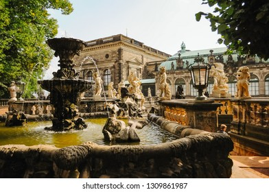 """DRESDEN, GERMANY - September 17, 2012: The fountain """"Bath of nymphs"""" in baroque style Zwinger in Dresden, eastern Germany."""
