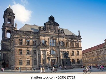 DRESDEN, GERMANY - SEPTEMBER 17, 2014: The monument to Frederick Augustus I king of Saxony near the Court of Appeal.