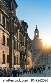 DRESDEN, GERMANY - SEPTEMBER 2017: People walk in the center of Old town