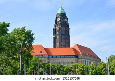 Dresden Germany townhall building in summer