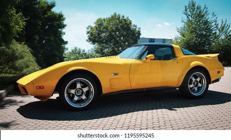 DRESDEN, GERMANY-JULY 7, 2016: 1980 Corvette Stingray Coupe (C3, Third generation) at the city streets.
