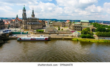 DRESDEN - JULY 2016: Beautiful city aerial skyline. Dresden is a popular attraction in Germany.