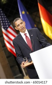 DRESDEN - June 05:  Barack Obama, the 44th President of the United States at a Press conference with the german Chancellor Angela Merkel at the Residenz Schloss. June 05, 2009 in Dresden