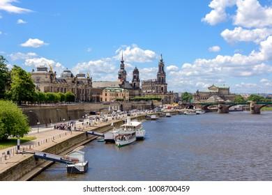 Dresden main landmark - Embankment of the River Elbe in Dresden, Saxony, Germany