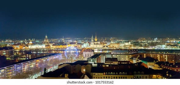 Dresden panorama at night, Germany, December 2017