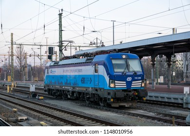 Dresden, Saxony, Germany - 04 March 2018: The blue electric loco Siemens Vectron 193 289 of České dráhy (ČD) waiting for the next deployment in Dresden Main Station.