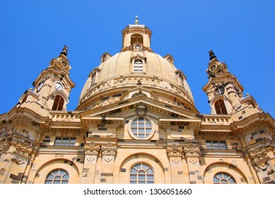 DRESDEN SAXONY GERMANY 05 25 2010: Dresden Frauenkirche. Built in the 18th, the church was destroyed in the firebombing of Dresden during World War II. Dresden Germany