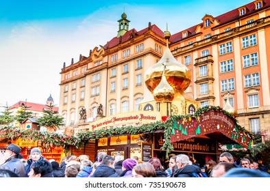 DRESDEN, SAXONY / GERMANY -  17 DECEMBER 2016: People visit Christmas Market  Striezelmarkt in Dresden, Germany. Christmas fair, European traditions.