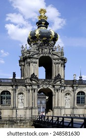 Dresden, Saxony, Germany - July 26, 2007: Zwinger palace in Dresden with crown gate as an entrance to the inner courtyard of the baroque building.