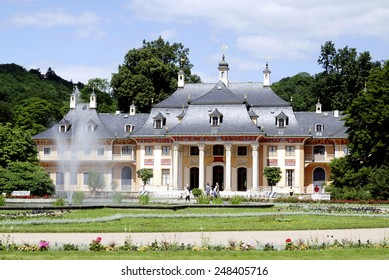 Dresden, Saxony, Germany - June 22, 2010: Pillnitz castle in Dresden with the mountain palais and the great castle park.