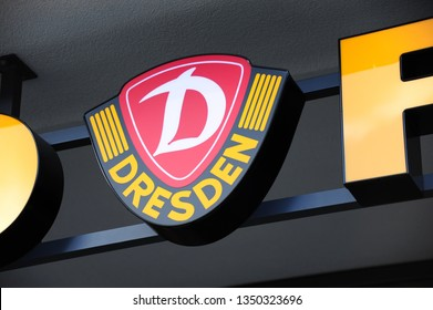 Dresden,  Saxony / Germany - September 30, 2010: Logo of sports club SG Dynamo Dresden at the Rudolf Harbig Stadium in Dresden , Germany