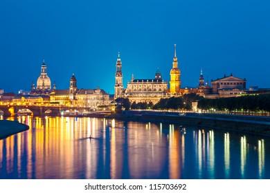 Dresden Skyline at night, Germany