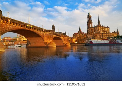 Dresden skyline reflecion in Elbe river at sunset in Saxony of Germany