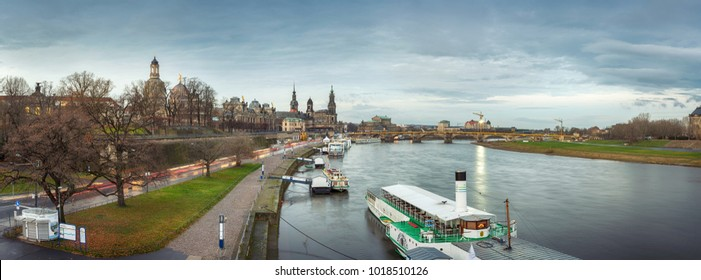 Dresden/Germany - December 18 2017 : Panoramic view of Dresden ancient buildings along Elba river.