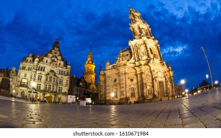 Dresden/Germany/ June 20th 2012/  in Dresden Germany with the  Semper Opera House  Baroque Hofkirche, Dresden's catholic cathedral,