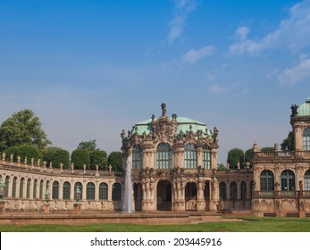 Dresdner Zwinger rococo palace designed by Poeppelmann in 1710 as orangery and exhibition gallery of Dresden Court completed by Gottfried Semper with the addition of the Semper Gallery in 1847