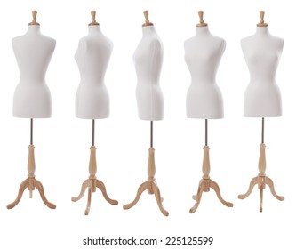 Dress form shown at various angles isolated on white