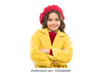 Dress up like fashion girl. Kid little cute girl smiling face posing in hat isolated on white. Fashionable beret accessory for female. Spring fashion. Fashion accessory for little kids. Fancy girl.