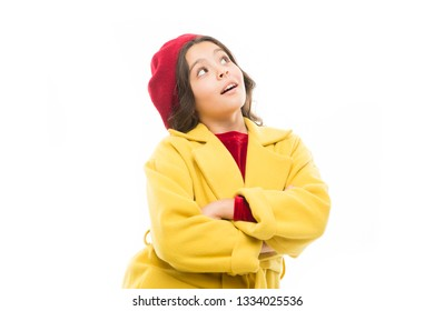Dress up like fashion girl. Kid little cute girl smiling face posing in hat isolated on white. Fashionable beret accessory for female. Spring fashion. Fashion accessory for little kid. Feeling pretty.