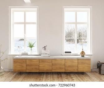 Dresser in the living room - Interior design - 3 D render using 3 d s Max