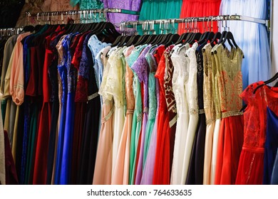 Dresses in a retail shop